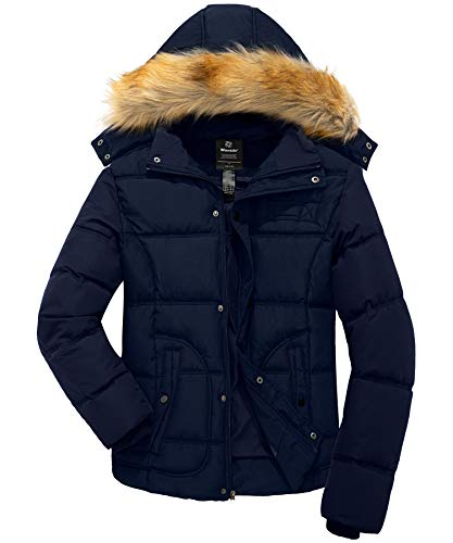 Wantdo Men's Winter Puffer Coat Warm Jacket Thicken Parka with Hood Navy Large
