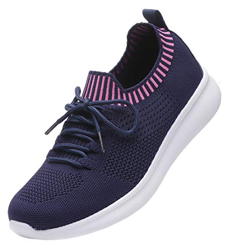 DADAWEN Women's Sneakers Lightweight Casual Breathable Athletic Walking Running Shoes Navy US Size 5