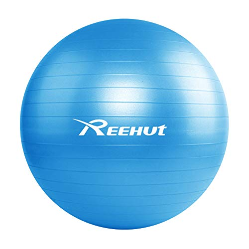 REEHUT Exercise Ball, Anti-Burst Balance Ball with Quick Pump & Manual for Yoga, Stability, Core Exercise, Fitness - Blue, 55cm