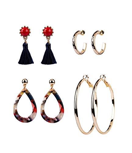 SIX 4er Damen Ohrring Set in goldfarben und rot, blau, schwarz, verschiedene Ohrhänger mit schönen Details wie Quasten, Stein, Acryl (795-228)