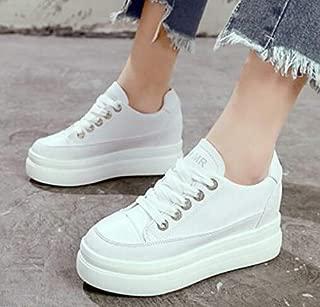FidgetGear Womens White Sneakers High Hidden Heels Wedge Platform Casual Shoes Lace Up D994 White EUR35=US4.5=UK2.5
