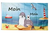 Flaggenfritze® Flagge/Fahne Moin Moin Seehund mit Baby - 90 x 150 cm