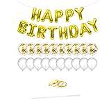 rongweiwang Partido del Globo Conjunto del Brillo del Papel de Aluminio látex Fiesta de cumpleaños Kit de Globos inflados Decoración, Oro