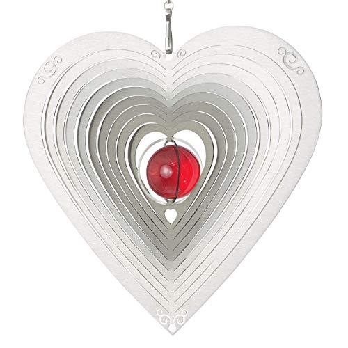 CIM Edelstahl Deko Windspiel - Herz Ornament 165 - wetterbeständig - Abmessung: 17x17cm - inkl. Kugellagerwirbel, Haken und Nylonschnur - attraktive Edelstahl-Dekoration zum Aufhängen