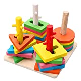 Toys N Smile Wooden Blocks Geometric Shape Matching Four Sets of Column Learning Education Puzzle Game Toy for Kids (Multicolor)