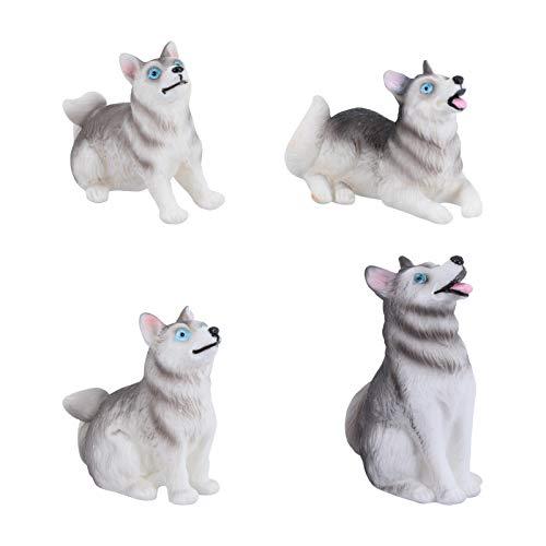 Yardwe 4 figuras en miniatura de perro Husky para decoración de fiestas,...