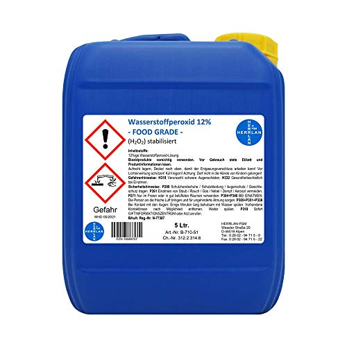 Wasserstoffperoxid 12% FOOD GRADE I 5 Ltr. I stabilisiert I Kanister I Pharmazentralnummer-16569707 I Herrlan Qualität I Made in Germany