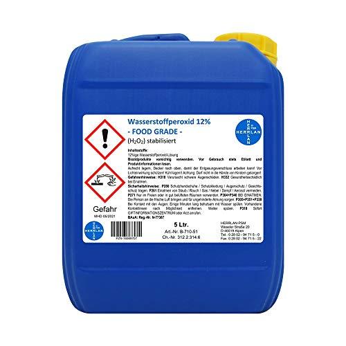 Wasserstoffperoxid 12% FOOD GRADE I 5 Ltr. I stabilisiert I Kanister I Pharmazentralnummer-16569707 I Herrlan Qualität I Made in Germany I HERRLAN ANTWORTET AUF AUSNUTZUNG DER SITUATION