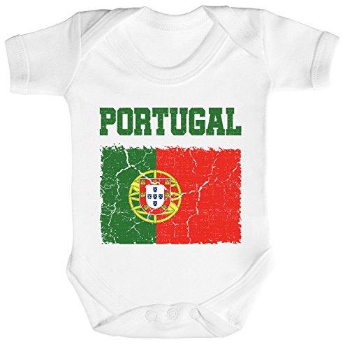 ShirtStreet Fußball WM Fanfest Gruppen Trikot Fan Strampler Bio Baumwoll Baby Body kurzarm Jungen Mädchen Wappen Portugal, Größe: 12-18 Monate,White