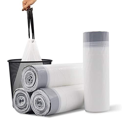YIHATA Small Drawstring Trash Bag, 4 Gallon Trash Bags For Bedroom Bathroom Office Kitchen 60 PC (White)