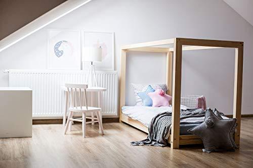 Best For Kids Hausbett Cube Kinderbett Kinderhaus Jugendbett Natur Haus Holz Bett in viele Größen 70x140cm-160x200cm(60x120cm)