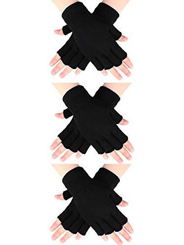 SATINIOR 3 Paar Halb Fingerhandschuhe Winter Fingerlose Handschuhe Strickhandschuhe für Männer Frauen (Schwarz)