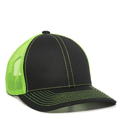 Outdoor Cap Structured mesh Back Trucker Cap, Black/Neon Green, One Size