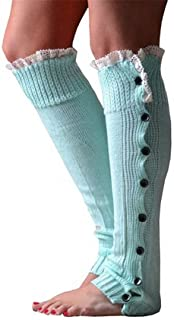 MINT BLUE Slouchy Knit Button Up Lace Leg Warmers Boot Covers