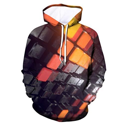 Xmiral Kapuzenpullover Hoodie Herren 3D Drucken Tunnelzug Tasche Tops Sweatshirts mit Kapuze T-Shirt Mode Slim Fit Sportbekleidung Outdoor Fitness Training Pullover(Schwarz 4,L)