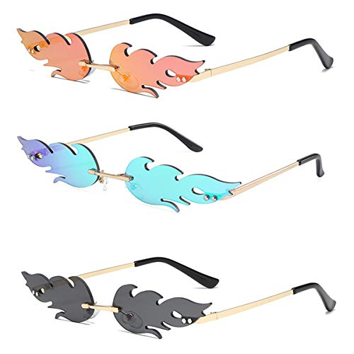 Smavles Gafas de Sol de Llama de Fuego 3 Piezas Gafas de Sol Sin Montura Unisex,Gafas de Sol de Estilo Punk Vintage de Moda