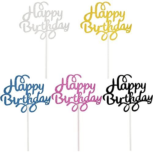 25 Stück Happy Birthday Kuchen Topper Glitzer Cupcake Topper Geburtstagstorte Topper Picks für Geburtstag Party Bedarf, 5 Farben
