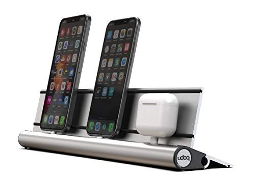 udoq 400 Ladestation für iPhone und iPad AirPods, hochwertiges Design 4mm Aluminium, Lightning Kabel, Silber