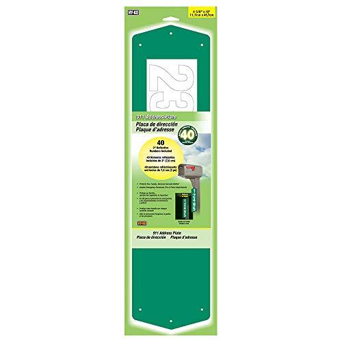 Hy-Ko Products Plaque d'adresse 911 12,7 x 45,7 cm (numéros de 7,6 cm) - Verte, 1 pièce