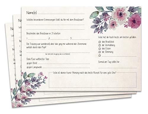 Gästebuchseiten Gästekarten DINA5/A6 - Schöne Fragekarten zum Ausfüllen und Einkleben ins Gästebuch Hochzeit mit Fragen … (Blumen, DINA5)