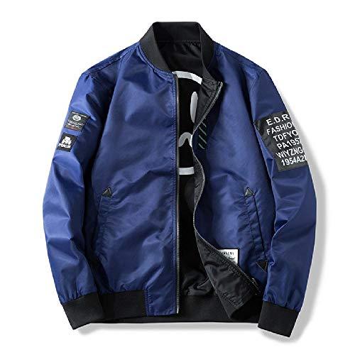 Bomberjacke für Herren, für beide Seiten, Casual, Windbreaker, Man, Pilotenjacke, Grün Gr. XXXX-Large, Blaue Jacke