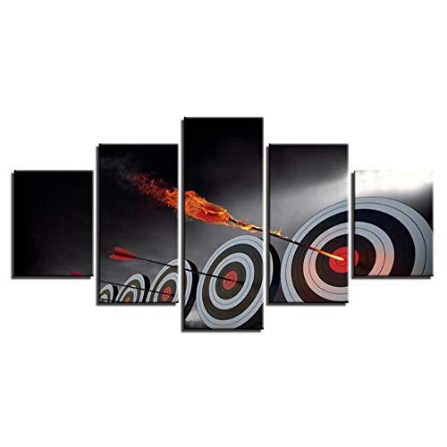 JIWAWAR Arte de la Pared Impresión HD Pinturas en Lienzo 5 Unidades Flecha Objetivo Cartel Decoración del Hogar Moderno para la Sala de Estar Marco Modular fotos-40CMx60/80/100CM