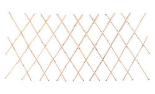 Spetebo Bambus Rankgitter mit Blumentopfhalter Ösen - 180x70 cm - Holz Zaun Rankhilfe Pflanzengitter Sichtschutz