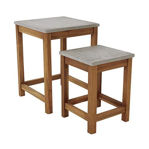 Butlers Concrete Beistelltisch mit Zementplatte 2-er Set - naturfarbigen Tisch - für Balkon und Garten - aus Akazienholz - modernes Design