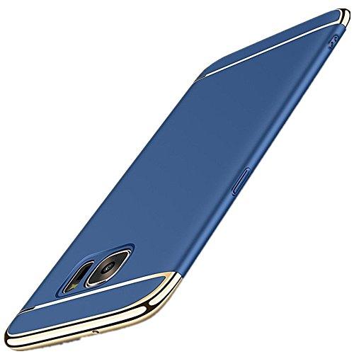 Kompatibel mit Samsung Galaxy S6 Hülle, Galaxy S6 edge Hülle 3 in 1 Ultra Dünner PC Harte Case 360 Grad Ganzkörper Schützend Schutzhülle Cover Handyhülle für Galaxy S6 Edge (Galaxy S6 edge, Blau)