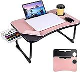 AHYMZ Mesa de portátil para Cama, Mesa para Laptop para Cama y sofá, con cajón de Almacenamiento/Titular de la Taza/Soporte para Cuaderno/Adecuado para Trabajar, Comer, Escribir, Leer