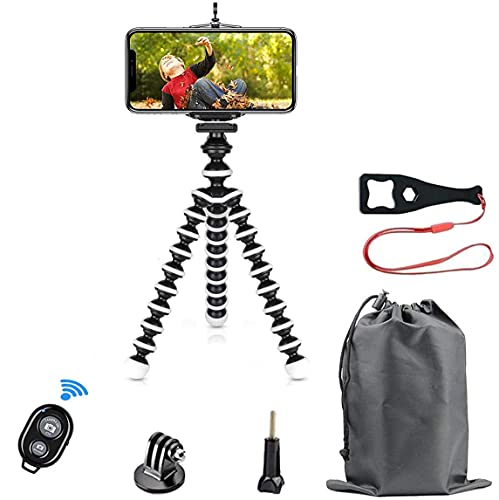 Phone Tripod Kit, SmilePowo Flexible Tripod with Bluetooth Remote/Adapter/Clip for iPhone,Android Phones,GoPro Sports Action Camera,Small Digital Camera (M)
