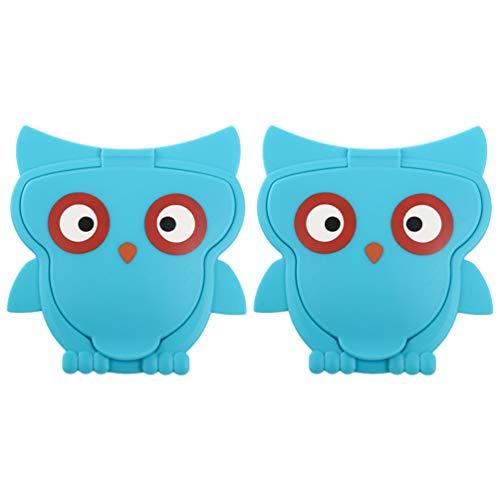 TOYANDONA 2 Piezas Tapa de Caja de Limpieza a Prueba de Polvo Forma de Búho Cubierta de Dispensador de Pañuelos Húmedos Bolsa de Limpieza Tapa de Boca para Toallita de Belleza para Bebés (Azul Cielo)