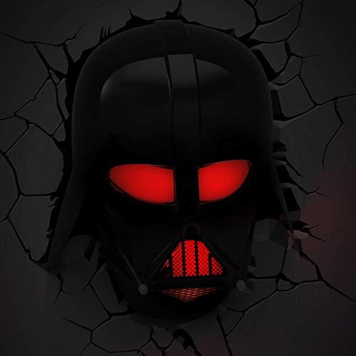 3D Light FX 50026 Star Wars Darth Vader 3D Deco Light, Plástico/LED, Negro/Rojo