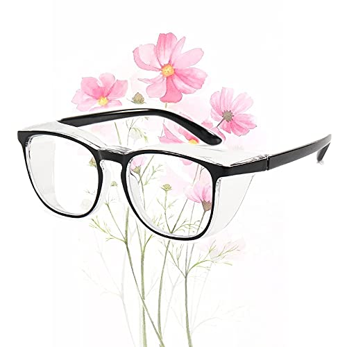 Dollger Safety Goggles Anti Fog Eye Protection Goggles Blue Light Blocking Safety Glasses for Women Anti Pollen Black