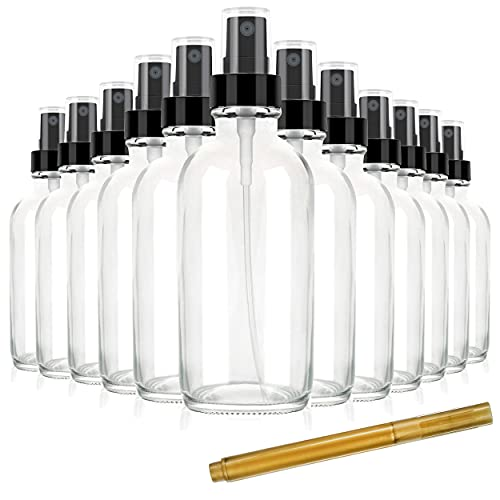 Chef's Star 2oz Glass Spray Bottles with Gold Pen Marker, Small Spray Bottle for Hair Spray, Essential Oil, Colognes, and Hand Sanitizers, Clear, Pack of 12