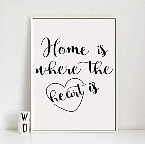 ACEYCHUANG Frase en inglés hogar es Donde se Encuentra el corazón póster, decoración del hogar para Sala de Estar -40x50 cm
