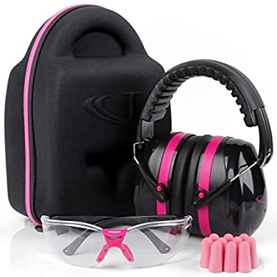 TRADESMART Shooting Ear-Protection Earmuffs and Glasses - Earplugs Clear Safety Glasses - UV400 and Anti Fog Eye Protection - Combined NRR38 Ear Muffs for Shooting, Construction, Hunting - Pink