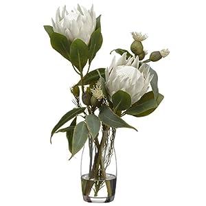22″ Hx13 W Protea, Eucalyptus & Wolly Silk Flower Arrangement -Cream/Green