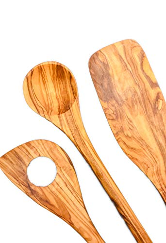 OLIVICIO Olive Wood Kitchen Utensil Set 3 Pieces Sustainable Wooden Kitchen Utensils Set consists of a spatula, a round cooking spoon and a wooden spoon with hole. Olive wood is hardwood.