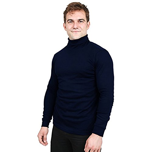 Utopia Wear Special Comfort Fit Turtleneck T-Shirt - Premium Cotton Blend Fabric - Long Sleeves - Machine Washable and Ultra Comfortable - Attractive and Trendy, Small (Navy)