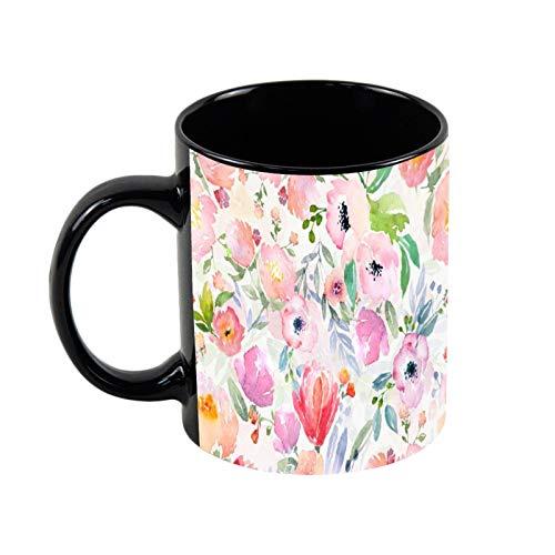 Taza de café de cerámica negra con patrón de país floral botánico de acuarela de 325 ml, única taza de café y té de cerámica, regalo de Navidad para ella, regalo de amigo