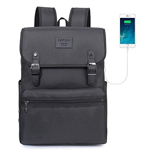 HFSX Backpack Bookbags Laptop Backpack for Women Men Vintage Backpack College Backpack Travel Bookbag Laptop Bookbags with USB Charging Port Black Backpacks Fits 15 inch Notebook