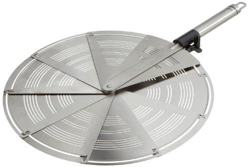 Leifheit faltbarer Spritzschutz ProLine-Serie, aus rostfreiem Edelstahl, platzsparend in der Größe eines Tortenhebers, passend bis zu 28 cm Ø, spülmaschinengeeignet, mit praktischer Aufhängeöse