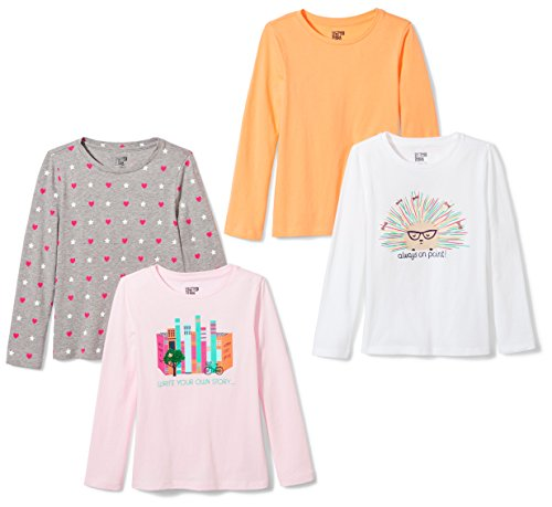 Spotted Zebra Girls' Toddler 4-Pack Long Sleeve T-Shirt, Write Your Own Story, 3T