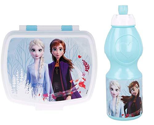 Pack 2pcs Botella de Agua plastico Infantil 400ml- Fiambrera sandwicheras para niñas, cantimplora a Prueba de Fugas sin BPA azul