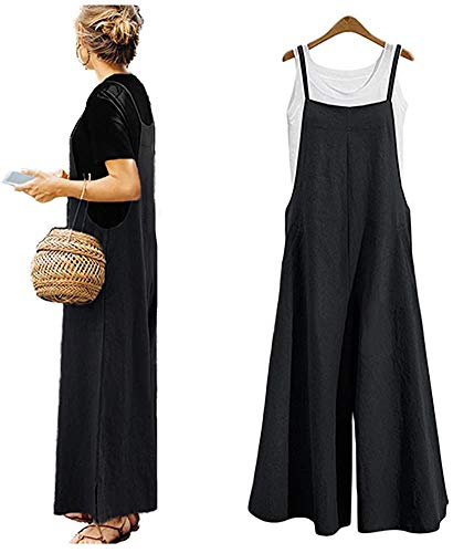 Women's Jumpsuits Casual Long Rompers Wide Leg Baggy Bibs Overalls Pants S-5XL (5X, Black)