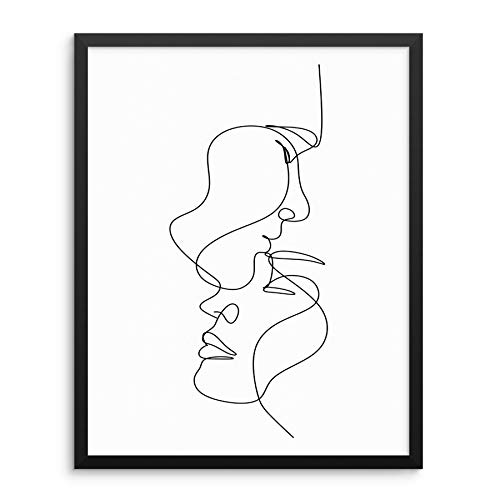 Sincerely, Not Minimalist One Line Art Print Abstract Couple's Faces Poster 11x14 UNFRAMED Trendy Fashion Artwork for Bedroom Bathroom or Living Room Picture Gallery Decor (11'x14' Couple 2)
