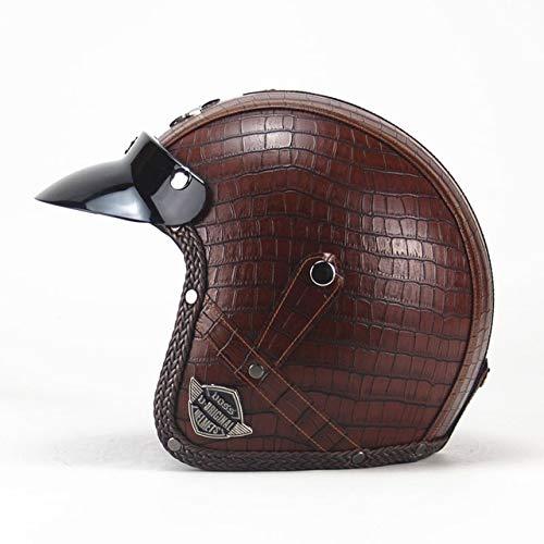 IAMZHL Helme 3/4 Motorrad Fahrradhelm Vintage Motorradhelm mit offenem Gesicht und Schutzbrillenmaske-VS Plaid Brown-4-XXL