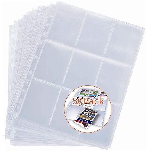 NETUME 450 Taschen Sammelkarten - Kunststoff Card Sleeves, Sammelkarten für Hüllen Album Folien Hülen Heftmappe, Heftmappe Sammelkarten Pocket Pages A4-Klarsichtkartentasche