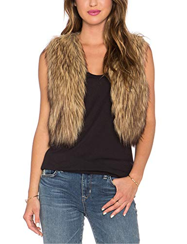 Tanming Women's Sleeveless Open Front Fluffy Short Faux Fur Vests Waistcoats (Medium, Grey)